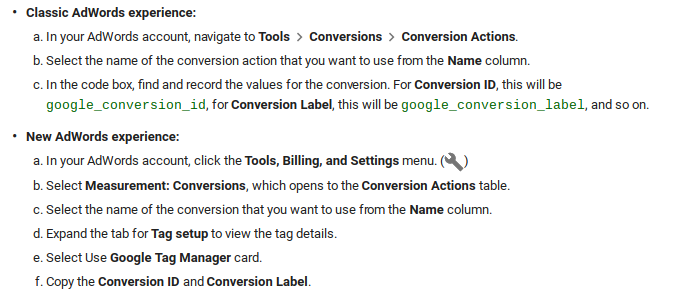 0024 adwords ID and conversion label