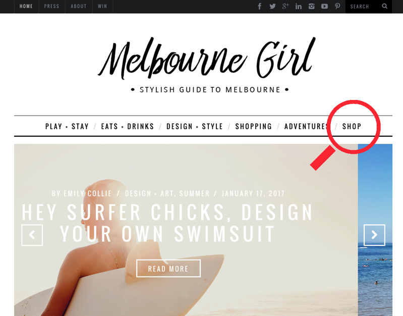 Affiliate Storefront Example - Online Magazine - Melbourne Girl